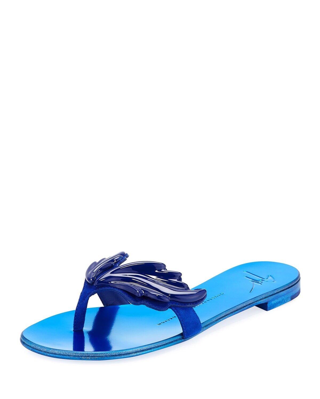 New in Box Giuseppe Zanotti Metallic bleu Wings Flip Flop Sandales 35 5US  695.00