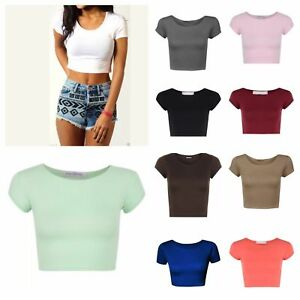 LADIES PLAIN SHORT SLEEVE CROP TOP T-SHIRT VEST ROUND NECK STRETCH STRICT NEW
