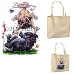 Pug-Dog-Playful-Tan-Black-Pair-Cartoon-Artist-Canvas-Market-Grocery-Tote-Bag