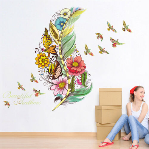 3d feather butterfly flower wall stickers home decoration room pvc wall decal VH