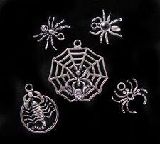 5pcs Spider Scorpion Silver Pendant Charm GOOD LUCK Bracelet Set Jewelry GOTHIC