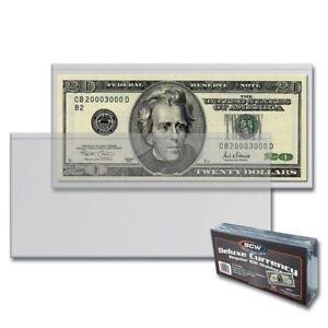 10-SEMI-RIGID-Vinyl-Money-Protector-Sleeve-US-Dollar-Bill-CURRENCY-HOLDERS-BCW