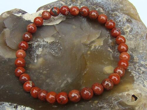 Piedras Preciosas Naturales Para Hombre Mujer Pulsera Elástica Cuentas De Jaspe Rojo 6 mm
