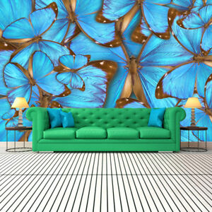 Image Is Loading Butterfly Wall Mural Blue 3D Photo Wallpaper Girl