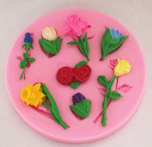 8 Blumen Silikon Glasur Form Backen Schokoladen Kuchen Dekorieren