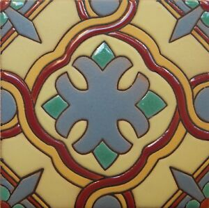 Details About Mexican Tiles High Relief Ceramic Cuerda Seca Malibu Santa Barbara Cs 21