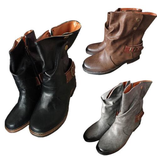 Vintage Winter Womans Ladies Horse Riding Ankle Boots Combat Punk Casual Shoes J