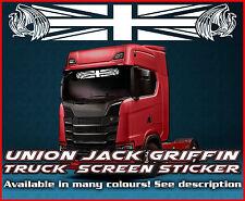 Union Jack Griffin Camión Camión Pegatina de pantalla de viento vidrio ventana de cabina ambiente Scania