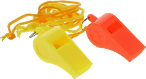 12 Plastic Whistles Lanyard Emergency Survival Prepper Safety Boat Marine Party