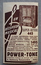 Publicité POWER TONE recepteur musical super octode 1935  french advert