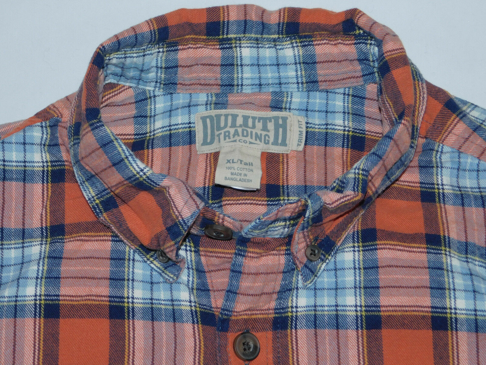 DULUTH TRADING CO FLANNEL SHIRT FREE SWINGIN TRIM FIT NAVY ORN MEN'S XLT XL TALL
