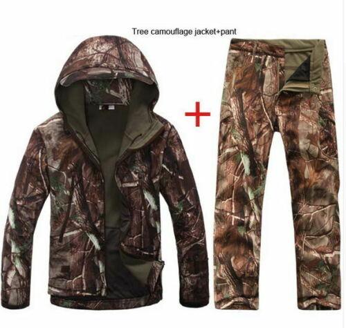 Shark Skin Soft Shell Mens Tactical Camo Military Hunting Fleece Jacket Pants