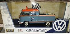 VW Bus Type 2 Volkswagen T1 Pickup Diecast 1:24 Motornmax 8 inch Blue Tow Truck
