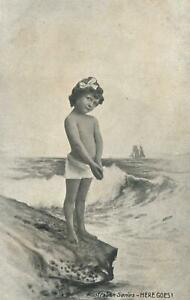 VINTAGE-SEMI-NAKED-YOUNG-GIRL-HERE-GOES-for-a-SWIM-POSTCARD-Australian-Series