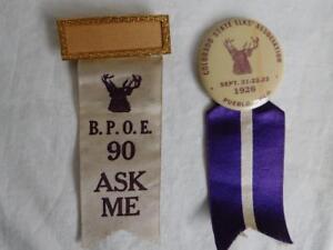 Details about VINTAGE 1920s Pin Ribbon BPOE badge Colo State Elks Assoc  1926 Pueblo antique