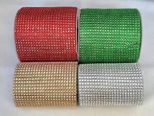 Diamante-Mesh-Embellishment-Crystal-Christmas-Cake-Trim-Red-Green-Gold-Silver