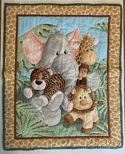 Handmade Baby Quilted Blanket Safari Jungle Animals Elephant Lion Giraffe Tiger