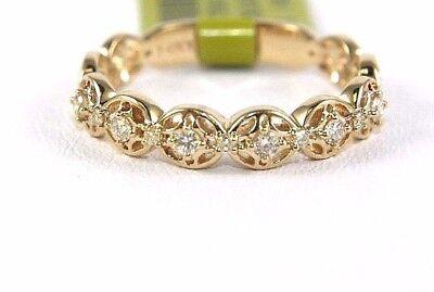 Round Cut Diamond Channel Lady's Fashion Ring Band 14k Yellow Gold .20Ct