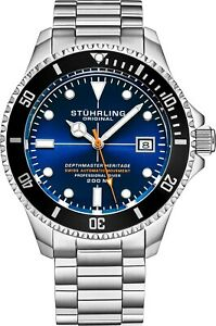 Stuhrling-Depthmaster-Heritage-883H-Swiss-Automatic-Stainless-Men-039-s-Diver-Watch