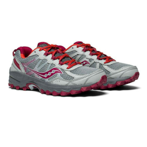Saucony Womens Grid Excursion TR11 Running Shoe Grey Pink Sports Breathable