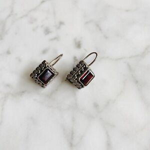 Vintage-Sterling-Silver-Ruby-Stone-Earrings-925-Drop-Dangle-Pierced-Red