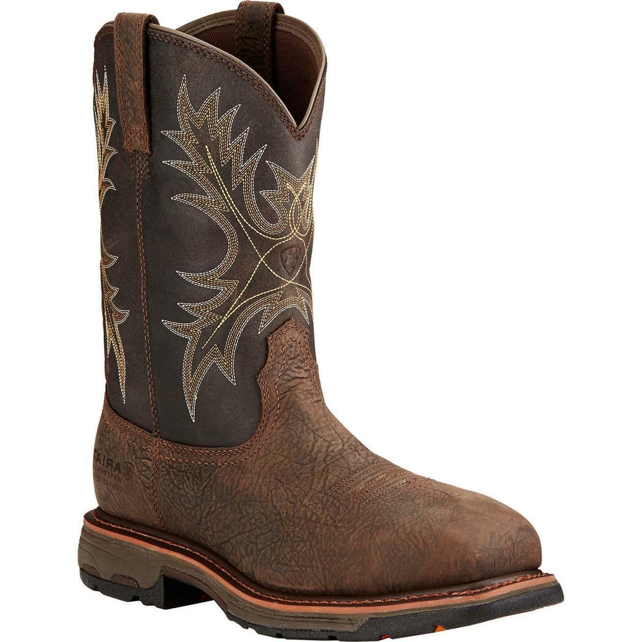 Ariat Workhog H2O dedo del pie cuadrado Ancho Impermeable Compuesto botas De Trabajo 10017420