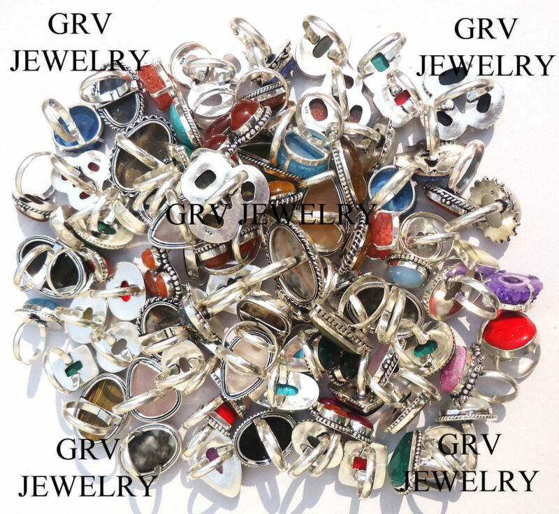 100pcs Mix Gemstone Wholesale Rings Lot 925 Silver Overlay Metal Jewelry