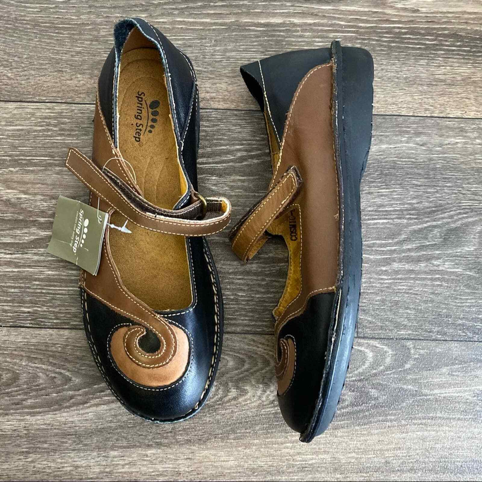 SPRING STEP NWT Cosmic Black Brown Leather Shoes EU 38