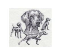 Completed Embroidery Sketch Style Weimaraner Dog