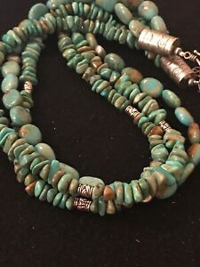 STUNNING-Navajo-Natural-Green-Turquoise-Sterling-Silver-Necklace-Pendant-8507