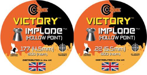 VICTORY IMPLODE Hollow Point Pellets Airgun carabine à air comprimé .177 .22 Qté 50-500