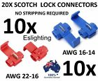 20PCS WIRE CONNECTOR SCOTCH LOCK QUICK SPLICE RED AND BLUE WIRE TERMINALS