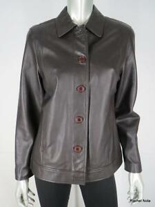 Leather Jacket Soft Brown Sz 8 M Lambskin Button Up Classic Saks Fifth Avenue