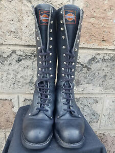 fa4a7dc47b2 Details about Men's Vtg Black Leather HARLEY DAVIDSON Tall Motorcycle  Riding Biker Boots Sz-7