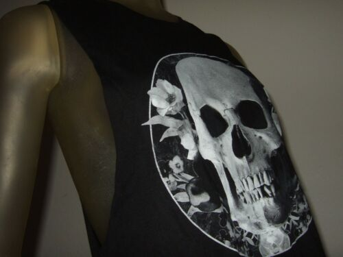 NWT Juniors M-XL Black Human Skull With Flowers Muscle Graphic Tank Top Shirt