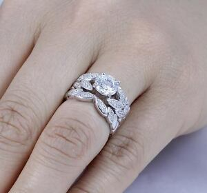 925 STERLING SILVER FLORAL CZ WEDDING ENGAGEMENT RINGS SET WOMEN