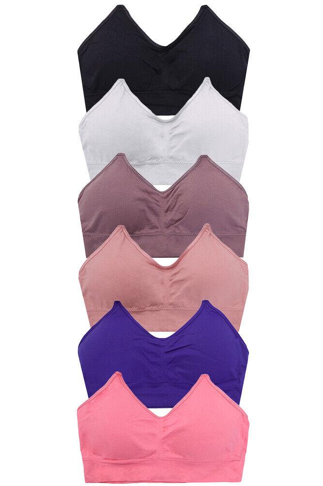 Jinscloset Women's 6pc Assorted Solid Seamless Bralette Top