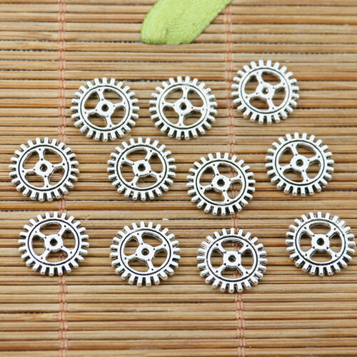 50pcs tibetan silver tone 2sided 12mm wide gear design charms EF2211
