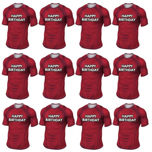 PRECUT Rugby Shirt Birthday Cup Cake Toppers Decorations Munster Colours