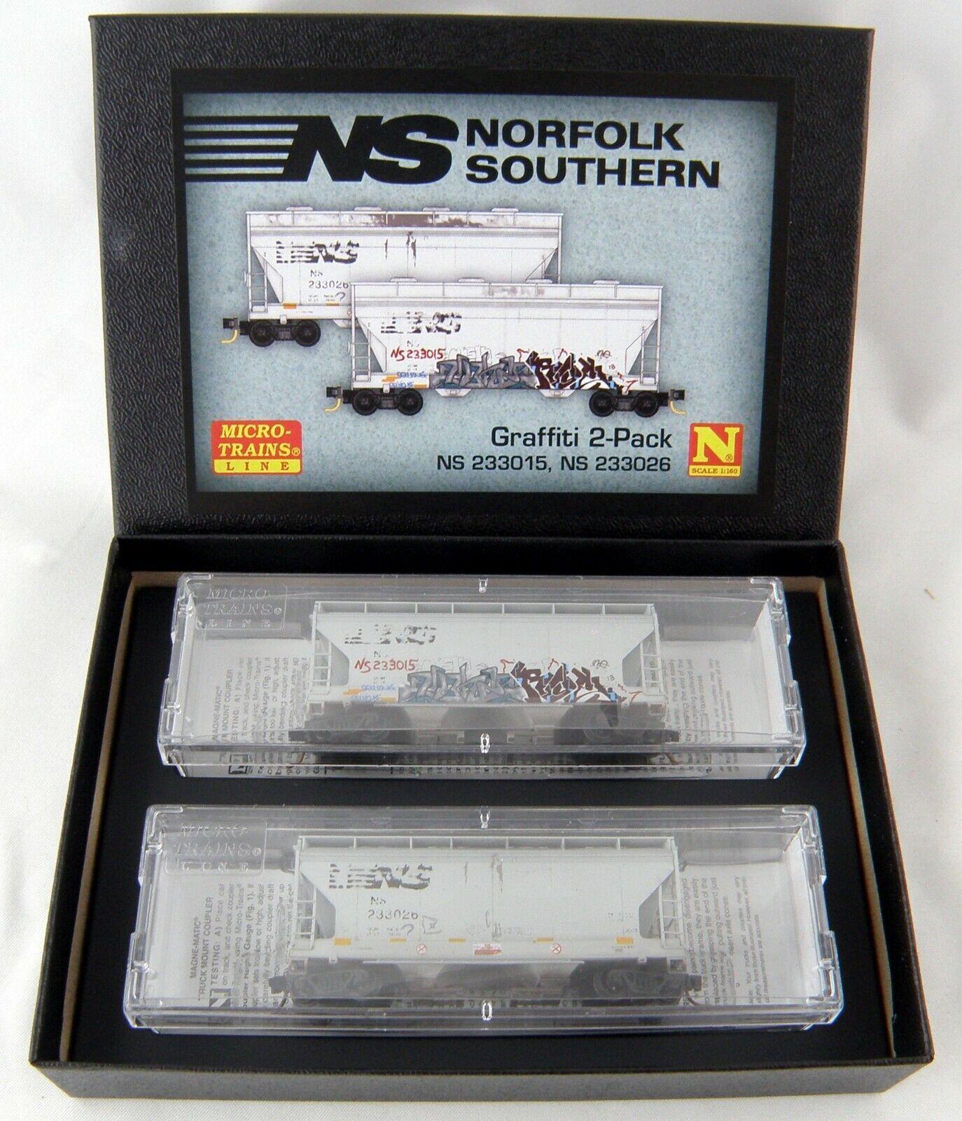 N Scale 2-Bay Covered Hopper (2-Pk) - Norfolk Southern (Graffiti) - MTL 09244460