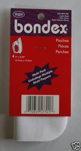 """Bondex Iron-On Patches 4 pc 5/"""" x 5.25/"""" Light Multi Asst"""