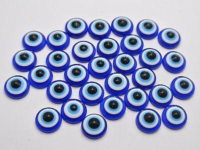 200 Blue Acrylic Flatback Evil Eye 9mm Kabbalah Cabochon Scrapbook Craft