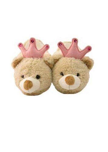 4-5 Years NWT Kreative Kids Plush Tan Crown Bear Slippers Kid Size 12