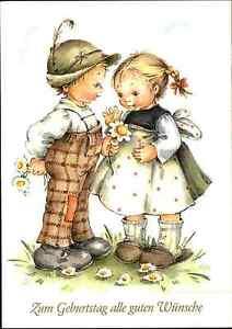 Geburtstag-Glueckwunsch-Postkarte-ungelaufen-ungebraucht-Junge-amp-Maedchen-Kinder