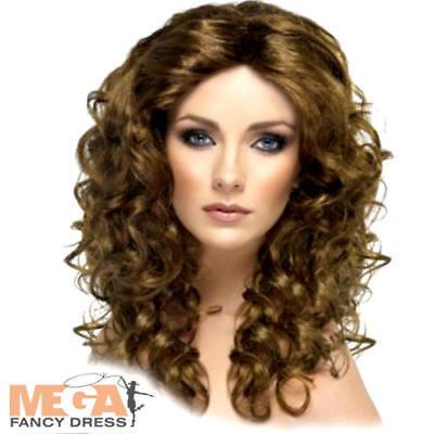 Marrone Lungo Parrucca Riccia Galmour Bellezza Adulto Linea Donna Costume Accessorio-mostra Il Titolo Originale