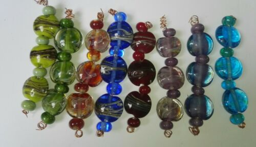 SETS OF 3 HANDMADE LAMPWORK LENTIL  BEADS With SPACER BEADS