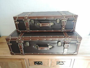 Image Is Loading VINTAGE LEATHER LOOK DECORATIVE STORAGE SUITCASES X2 ONE