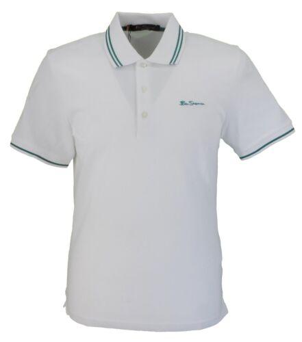 Ben Sherman White//Green Script 100/% Cotton Polo Shirt
