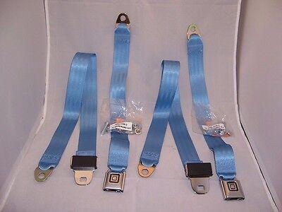 Basic Lap Seat Belt Set - Bright Blue in Color. Non-Retractable Seat Belts