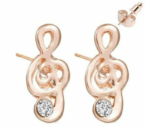 ROSE GOLD PLATED CRYSTAL TREBLE CLEF MUSIC NOTE STUD EARRINGS